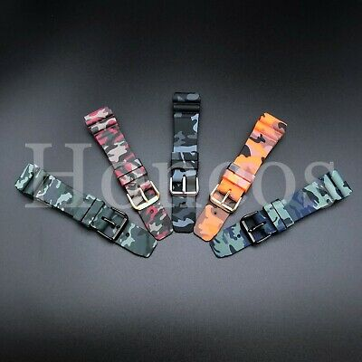 $ CDN11.32 • Buy 22 MM Black Silicone Rubber Watch Band Strap Fits Seiko Diver Camouflage Camo