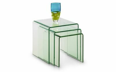 Set Of 3 Clear Moulded Glass Nest Of Tables W43cm X D43cm X H43cm AMY • 149£