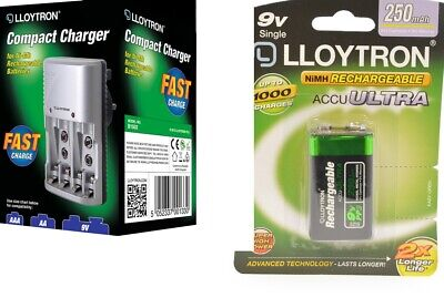 Lloytron Mains Battery Charger + 1 X LLoytron PP3 9V 250 MAh Rechargeable Batts. • 12.99£