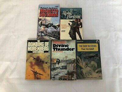 £12 • Buy 5x Vintage War Fiction Books Mosquito Squadron Alpine Partisan The Dam Busters