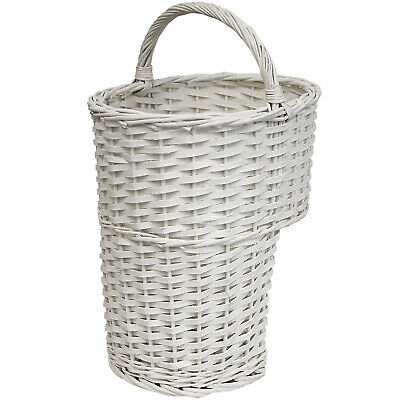 Hartleys White Oval Wicker Stair Storage Basket With Handle Step Tidy/organiser • 19.99£