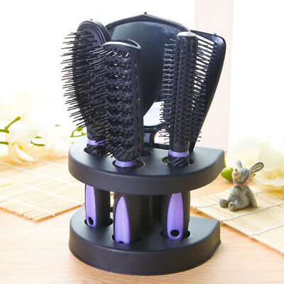 AU15.19 • Buy 5PCS Anti-Static Comb Mirror Set Salon Makeup Hair Styling Brush With Holder