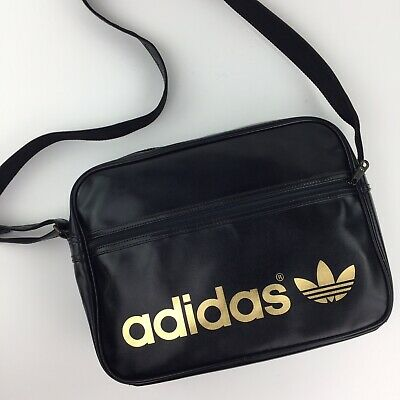 "$49.98 • Buy Adidas Originals Black And Gold Spellout Messenger Laptop Bag 15""x11""x4"""