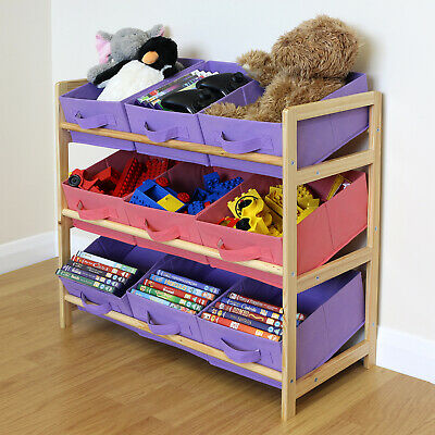 Purple & Pink 3 Tier Wood Toy Unit 9 Canvas Boxes/Drawers Kids/Childrens Storage • 24.99£