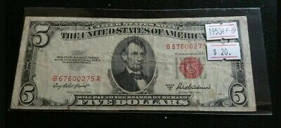 $ CDN19.99 • Buy USA 1953 A $5 Dollar Red Seal United States Note Very Nice Great Banknote