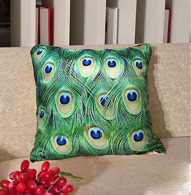 Elegant Peacock Pillow Cushion Cover Feather Pattern Double Sides • 32.18£