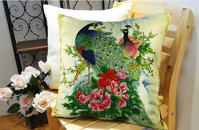 New Fashion Decorative Velvet Peacock Pillow Cushion Cover Double Sides Artwork • 33.18£