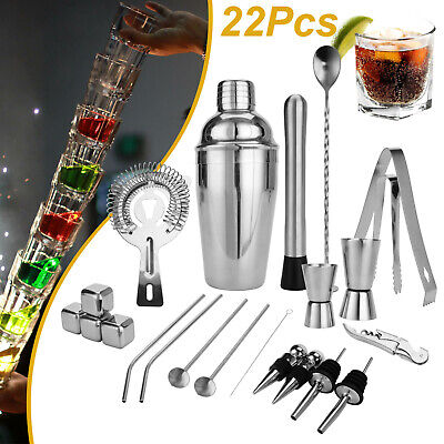 22Pc/Set Cocktail Shaker Bar Set Mixer Making Kit Gift Bartender Stainless Steel • 16.99£