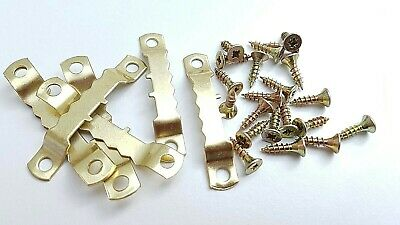 Saw Tooth Hangers 45mm With Screws Picture Canvas Frame Hanger Brass Plated • 2.99£