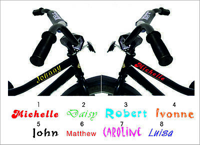 2 X PERSONALISED NAME BIKE FRAME STICKERS, CYCLE BICYCLE MTB BMX • 2.59£