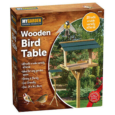 £14.95 • Buy Wooden Bird Feeder Seed Feed Table Garden Feeding Station Traditional Green Roof