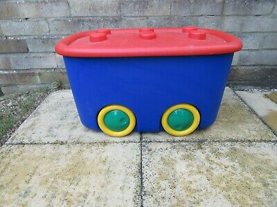 Plastic Toy Storage Box Blue With Red Lid And Yellow Wheels • 12£