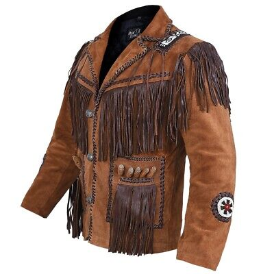 $99 • Buy Mens Western Wear Suede Leather Jacket Coat Beads & Fringes Indian Traditional
