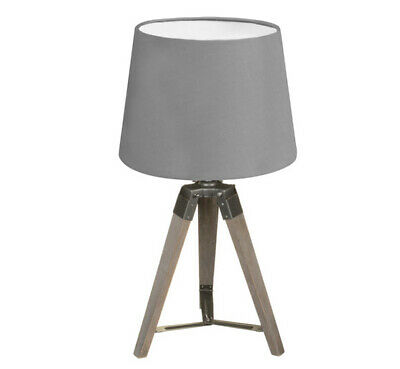 New HQ  Wooden Coastal Design For Modern Home Wooden Tripod Lamp.  Grey • 29.99£