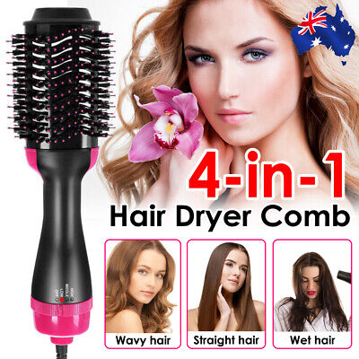 AU34.99 • Buy 4 In 1 Pro Salon One-Step Hair Dryer And Volumizer Oval Brush Straightener Comb