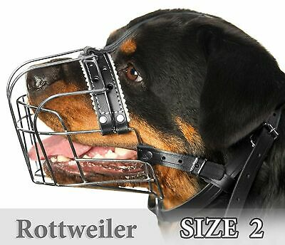 £27.99 • Buy Rottweiler Muzzles Size #2 Metal Wire Basket Adjustable Leather Straps For Dog