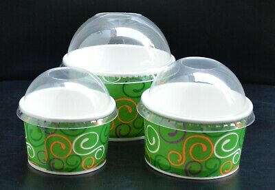 Paper Ice Cream Cup / Lids, Dessert Container Cups Tubs Treat Cups LFP • 13.99£