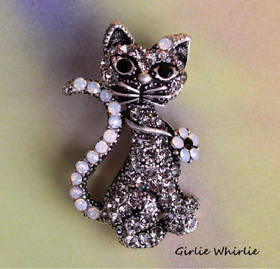 Cat Brooch Pin Badge Gift Silver Rhinestones Antique Vintage Style Jewellery • 5.95£
