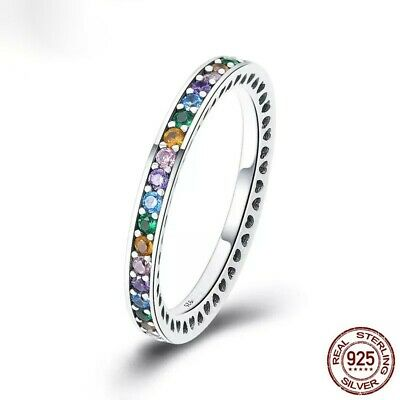 Sterling Silver Rainbow CZ Eternity Ring Multi Colour Channel Set New UK • 16£