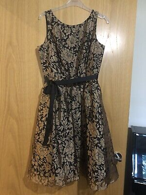 £10 • Buy Ladies Women's Girl's Teenager Prom Evening Formal Party Dress Black Gold Size 8