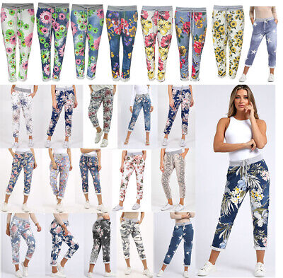 £12.99 • Buy New Italian Ladies Floral Print Summer Beach Turn Up Cotton Trouser Jogger Pants