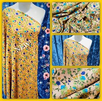 """🌸Soft Poly Viscose Floral Print Dress Fabric, 56"""" Wide, Metre Price • 5.50£"""