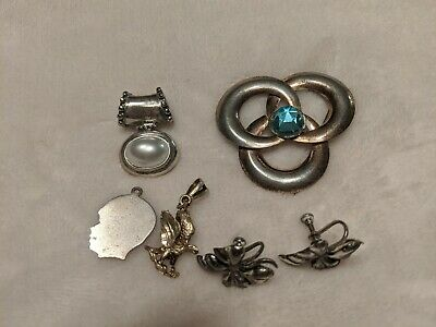 $ CDN35.37 • Buy Sterling Silver Jewelry Lot. Brooch, Earrings, Pendant