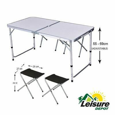 £38.84 • Buy Leisure Depot Aluminium Table With Stools Set Table Chairs Camping Caravan