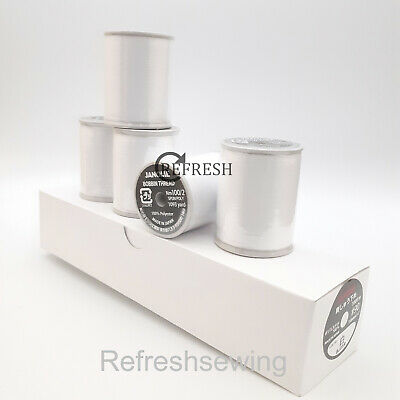 5 X 1000 Metre Spool Genuine Janome Embroidery Machine Bobbin Thread Fill White  • 45£
