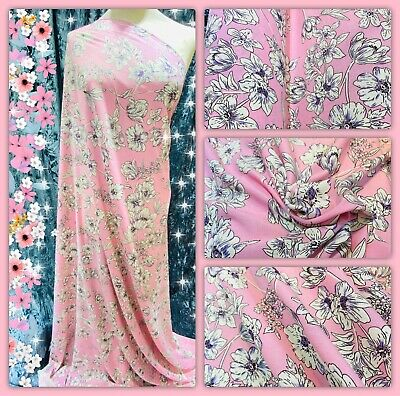 """Soft Cotton Poly Viscose Floral Print Dress Fabric, 56"""" Wide, Metre Price • 5.50£"""