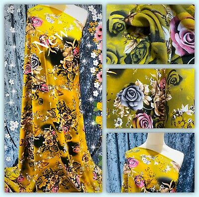 """Soft Printed Poly Viscose Floral Print Dress Fabric, 56"""" Wide, Metre Price • 5.50£"""