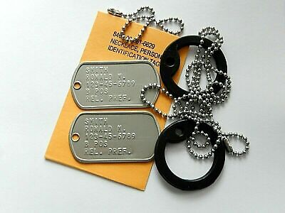 $7.99 • Buy Genuine USGI Military Dog Tags Embossed With Chains & Silencers Personalized HLS