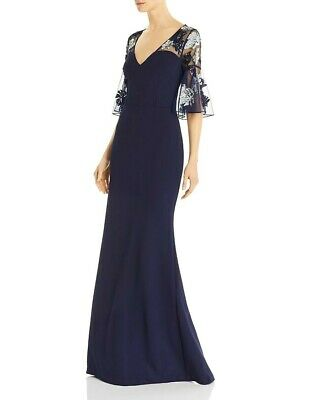 $129.99 • Buy Aidan Mattox V-Neck Flutter-Sleeve Beaded Crepe Gown $395  Size 2 # 1B 963 NEW