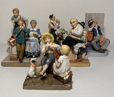 $ CDN105.16 • Buy Set Of 7 Norman Rockwell Figurines + 2 Small Lithographs