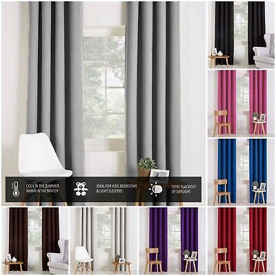 Pair Of Blackout Curtains Eyelet Top Or Pencil Pleat With Free Tie-backs • 23.99£
