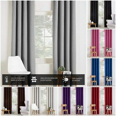 Pair Of Blackout Curtains Eyelet Top Or Pencil Pleat With Free Tie-backs • 19.99£