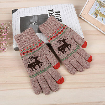Ladies Knitted Cute Elk Winter Warm Gloves Mitts Full Finger Mittens Glove IT • 3.35£