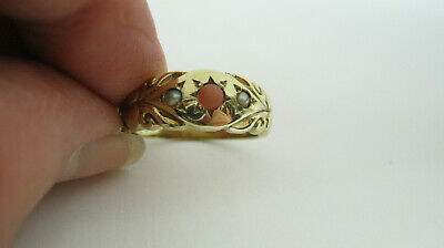 9ct Gold Coral & Seed Pearl Ring UK Size P - 4.8 Grammes • 180£