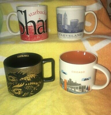 $ CDN40.68 • Buy Set Of 4 Starbucks Mugs Shanghai Cleveland Chicago Costa Rica Cups