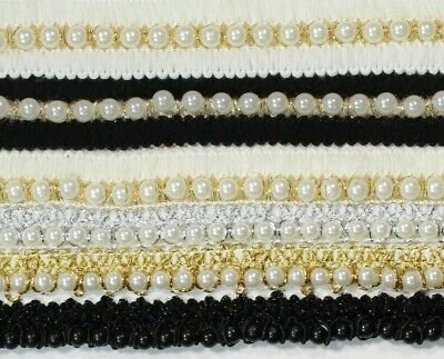 Pearl Beaded Lace Trim Ribbon 1.5 To 2.5cm Width For Sewing  Dance Dress  #1 • 2.99£
