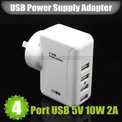 AU21.90 • Buy 5V 2A 10W 4 Port USB Power Adapter Home Travel Wall Charger With AU Plug