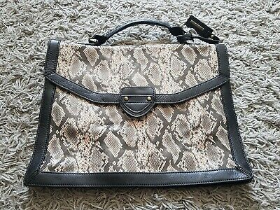 £49.99 • Buy Stunning Briefcase Style Bag Gharani Strok Cow Leather Mock Snake Bnwot