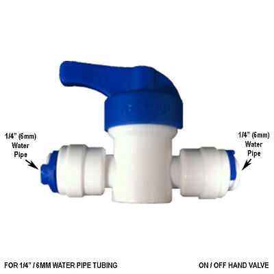 1/4  Inline Tap On/Off Ball Valve 6mm Fridge Pipe,RO Water Filter Tube Push Fit • 2.99£