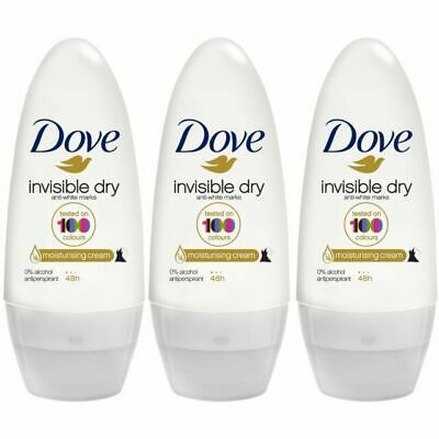 3 X Dove Invisible Dry Roll On 50ml Each Anti-Perspirant Ladies Deodorant • 7.85£