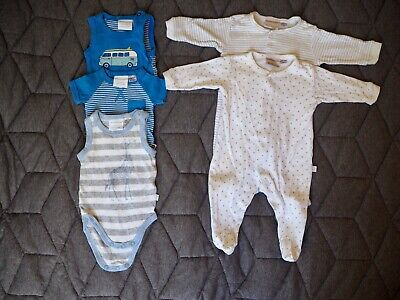 AU15 • Buy Baby Boy Newborn And 0-3 Marquise One Piece Blue Cars Stripes Grey White