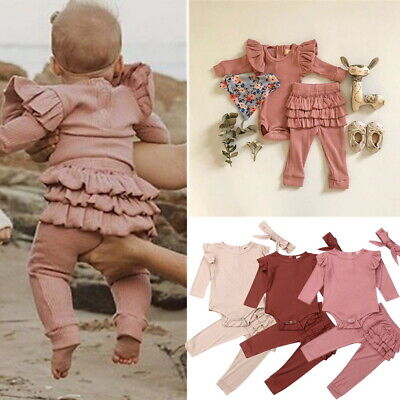 Newborn Baby Girl Clothes Ruffle Romper Jumpsuit Tops+Pants+ Headband Set Outfit • 10.89£