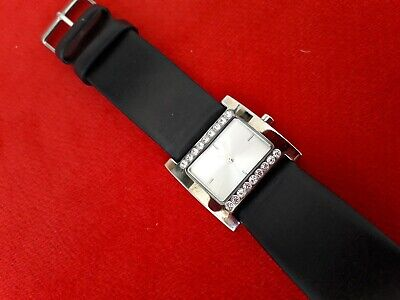 £5 • Buy New Look Ladies Stainless Steel & Diamante Watch With Black Leather Strap