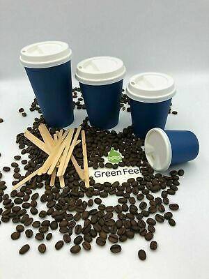 AU11.04 • Buy Blue Paper Cups Disposable Coffee Cups For Hot Drinks With Lids CHEAP Party Cups