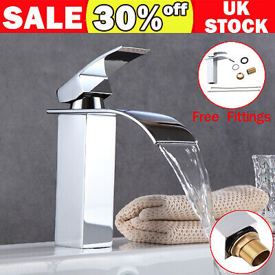 £24.65 • Buy Waterfall Bathroom Sink Counter Taps Basin Mixer Tap Chrome Square Mono Faucet