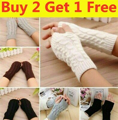 £3.90 • Buy Women Girls Warm Knitted Arm Protected Fingerless Gloves Long Stretchy Mittens